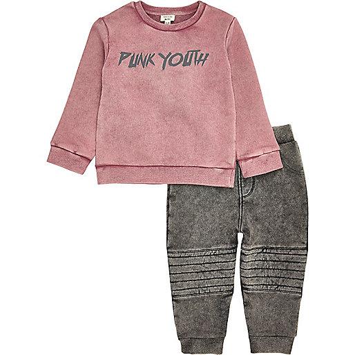 Mini boys pink sweatshirt and biker joggers
