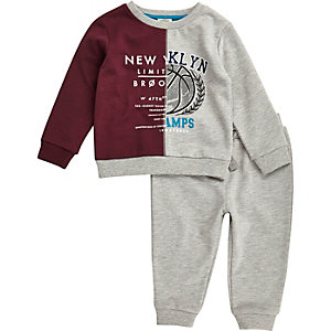 Mini boys grey block varsity sweatshirt set