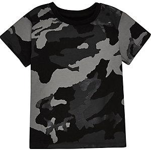 Mini boys black metallic camo T-shirt