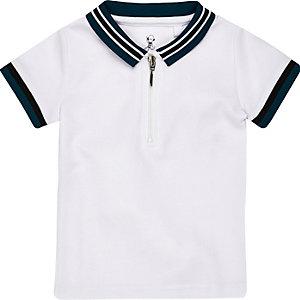 Polo zippé blanc à liserés mini garçon