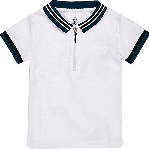 Mini boys white tipped zip polo shirt