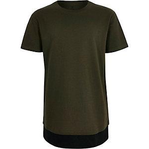 T-shirt vert kaki à ourlet contrastant garçon
