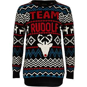 Pull de Noël noir à motif Rudolphe pour garçon