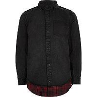 Boys black denim shirt with check hem