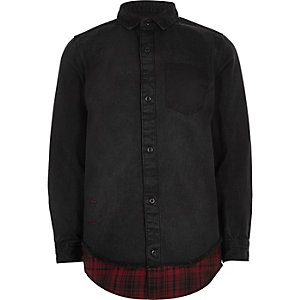 Boys black denim shirt with check hem