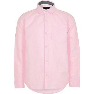 Pinkes, langärmliges Oxford-Hemd