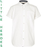 Boys white short sleeve Oxford shirt