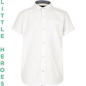 Wit Oxford overhemd met korte mouwen voor jongens