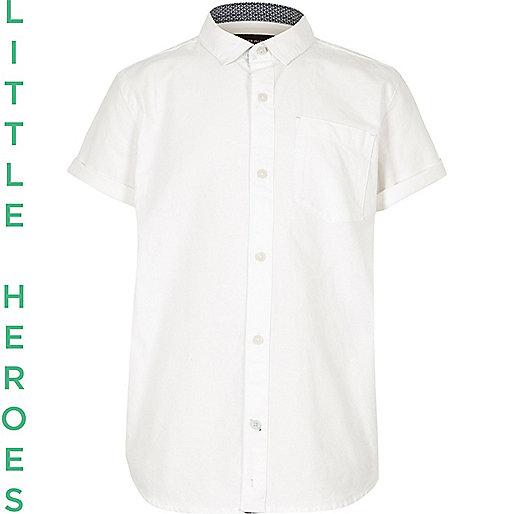 Boys white short sleeve Oxford shirt