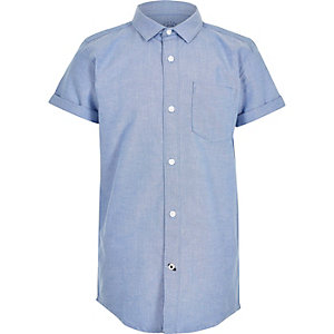 Boys blue short sleeve Oxford shirt