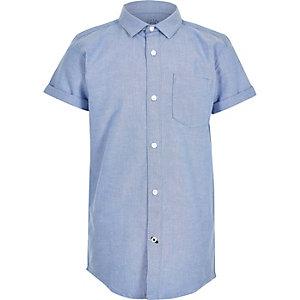 Blauw Oxford overhemd met korte mouwen voor jongens