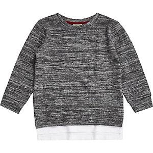 Mini boys grey marl layered sweatshirt