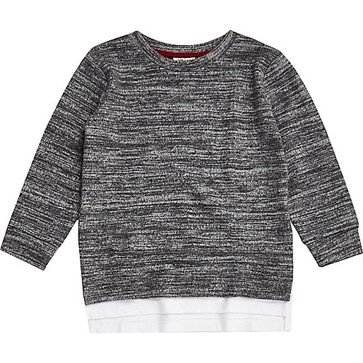 Mini boys grey marl layered sweatshirt