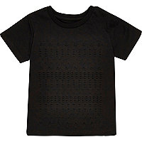 Mini boys black embossed T-shirt