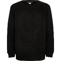 Boys black embossed skull sweatshirt