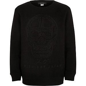 Boys black embossed skull sweatshirt
