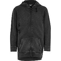 Boys blue distressed zip up hoodie