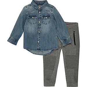Mini boys blue denim shirt and joggers