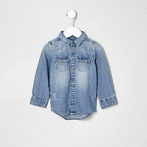Chemise en jean bleu clair mini gaçon