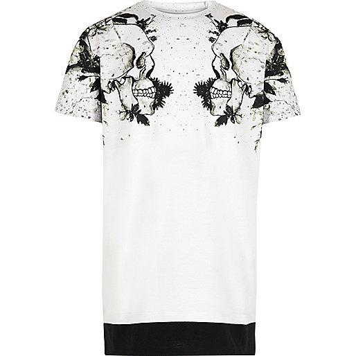 Boys white skull shoulder print T-shirt