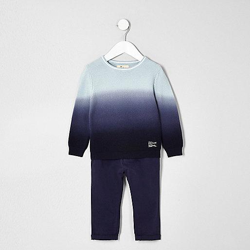 Mini boys dip dye sweater and chino set