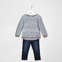 Mini boys grey knit jumper and jeans set
