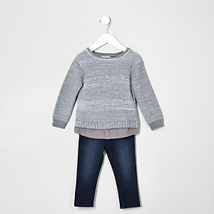 Mini boys grey knit jumper and jeans set
