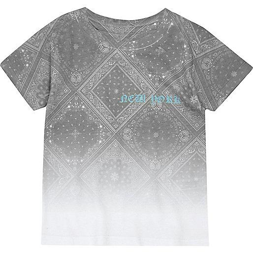 Mini boys white faded paisley print T-shirt