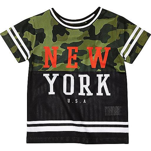 Mini boys black camo NYC T-shirt