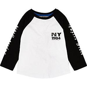 T-shirt imprimé NY blanc à manches longues mini garçon