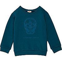Mini boys blue skull print sweatshirt