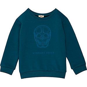 Sweat bleu imprimé tête de mort pour mini garçon