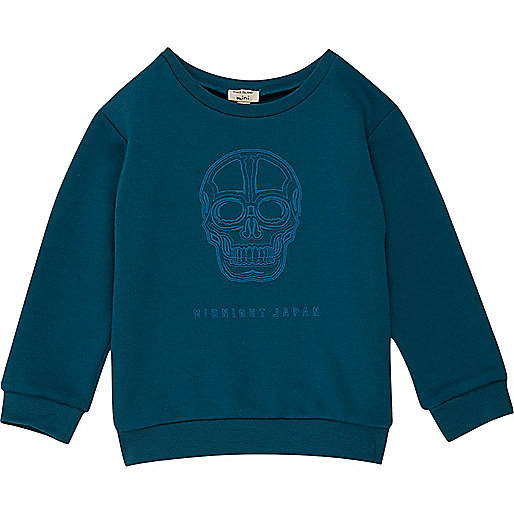 Mini boys blue skull print sweatshirt