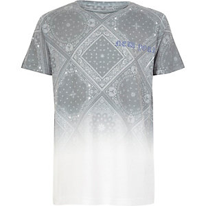 Boys white faded paisley print T-shirt