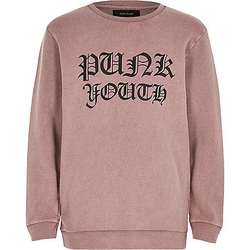 Boys pink washed print sweatshirt