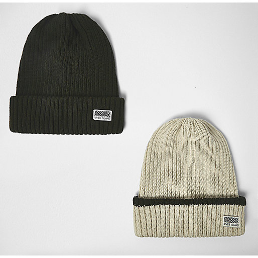 Boys khaki and oatmeal beanie pack