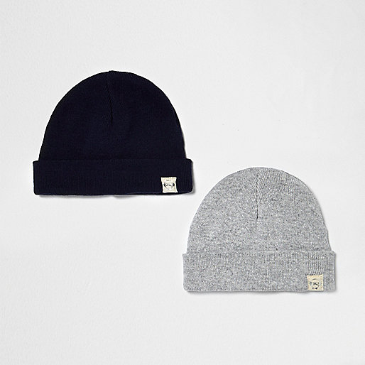 Mini boys grey and navy beanie pack