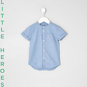 Mini boys blue grandad Oxford shirt