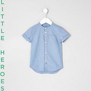 Mini - Blauw kraagloos Oxford overhemd voor jongens