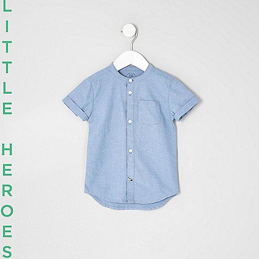 Mini boys blue grandad Oxford shirt