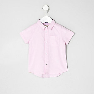 Mini boys pink short sleeve Oxford shirt
