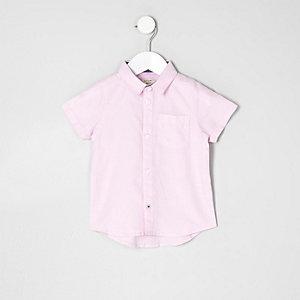 Chemise Oxford rose à manches courtes pour mini garçon