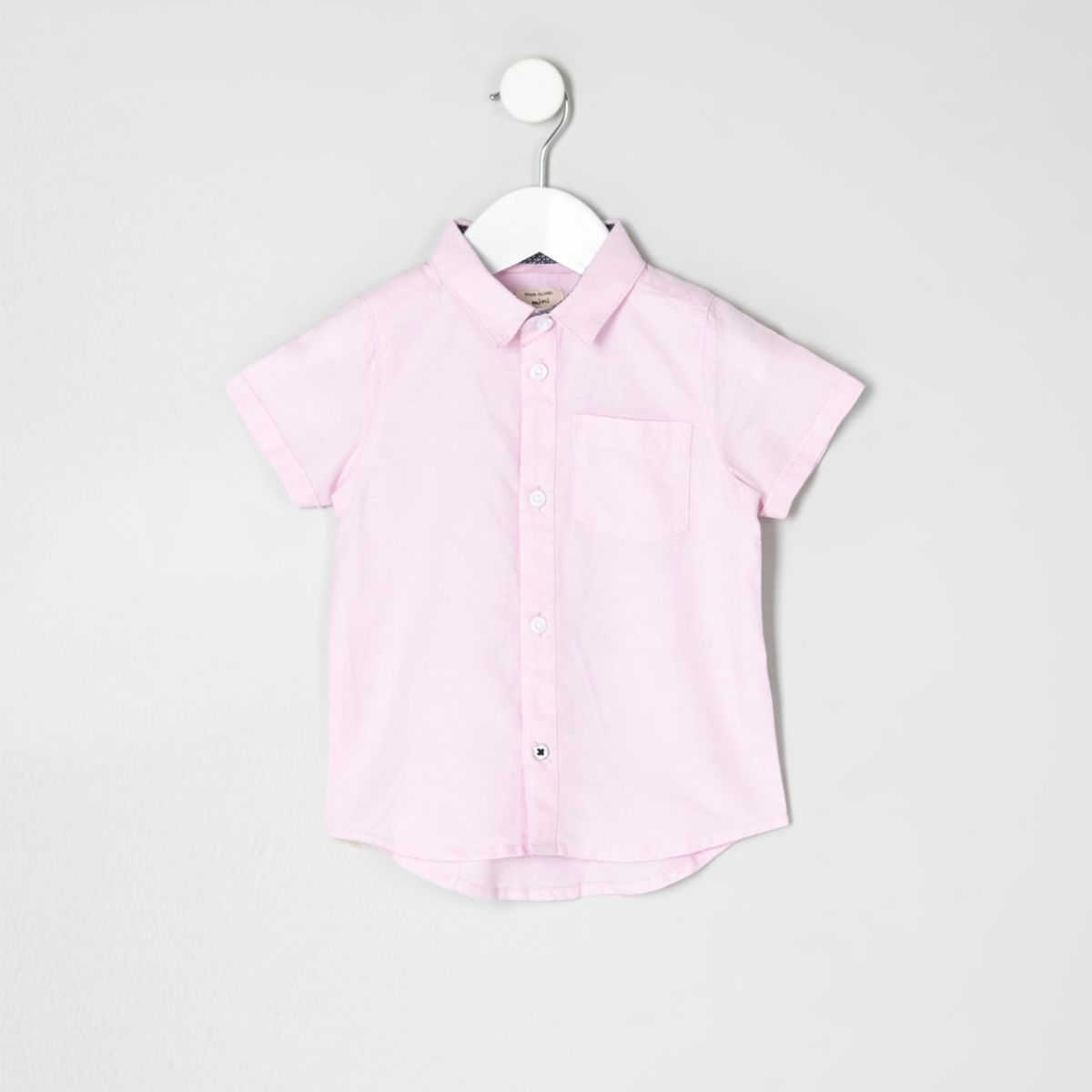 Mini boys pink short sleeve Oxford shirt - Baby Boys Tops - Mini ...
