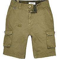 Boys khaki green cargo pocket shorts