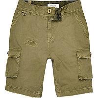 Short vert kaki à poches cargo pour garçon
