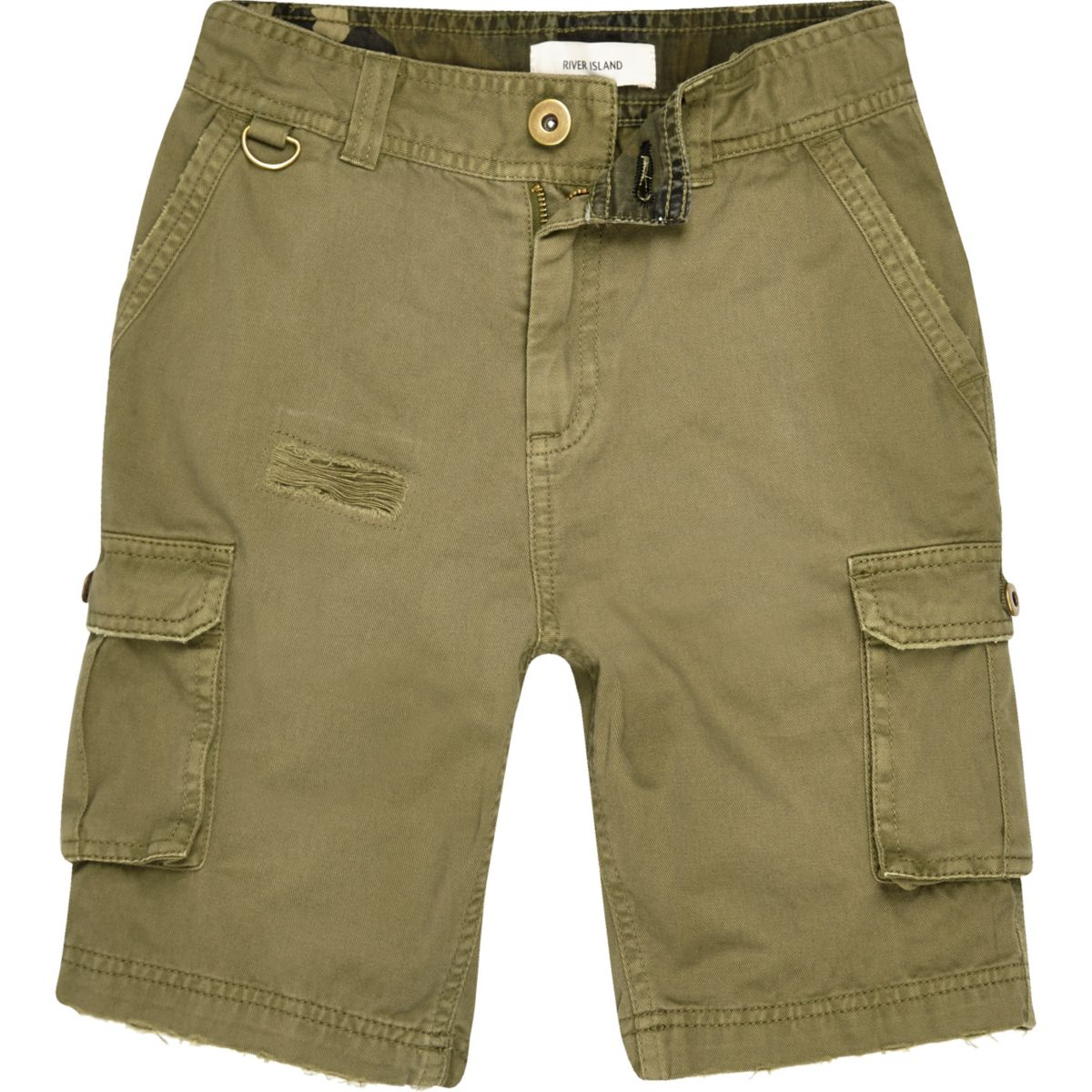 Boys khaki green cargo shorts