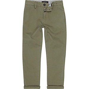 Boys khaki chino trousers