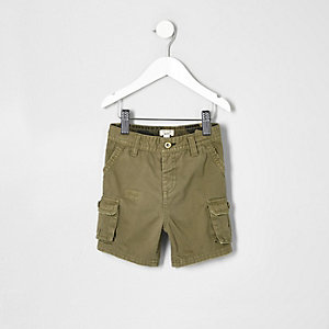 Mini boys khaki green cargo shorts