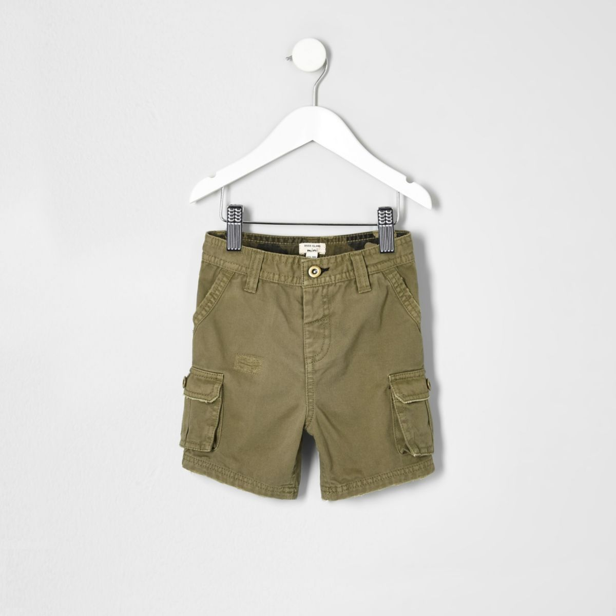 Mini boys khaki green cargo shorts