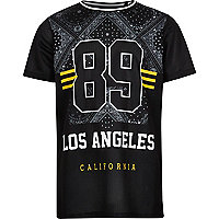 Boys black mesh bandana print T-shirt